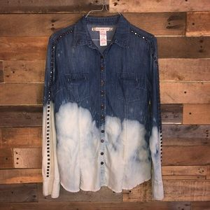 Dip dyed denim button up w studs Chelsea & violet